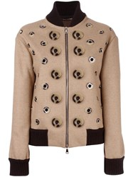 Maurizio Pecoraro Disc Applique Bomber Jacket Brown