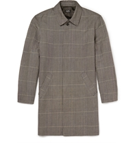 A.P.C. Prince Of Wales Checked Linen And Cotton Blend Raincoat Gray