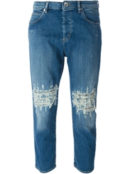 Love Moschino Distressed Cropped Jeans Blue