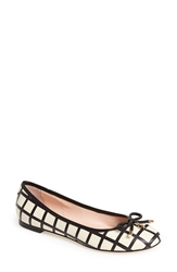 Kate Spade 'Willa' Skimmer Flat Women Cream Black