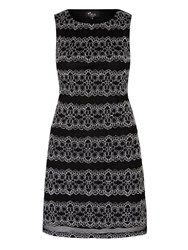 Mela Loves London Monochrome Lace Panel Shift Dress Black White