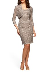 Alex Evenings Women's Sequin Lace Sheath Dress And Bolero Champagne