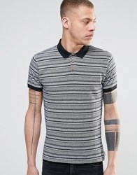 Bellfield Polo Shirt With All Over Aztec Print Black