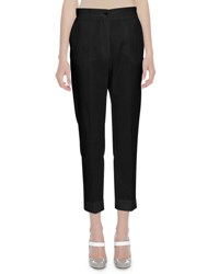 Bottega Veneta Cropped Cotton Trousers Black