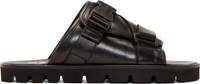 Msgm Black Leather Buckle Sandal