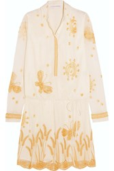 Diane Von Furstenberg Delphina Embroidered Tulle Mini Dress White Gold