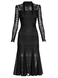 Temperley London Desdemona Long Sleeved Lace Midi Dress Black