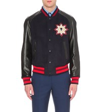 Alexander Mcqueen Wool Blend And Leather Varsity Jacket Black Navy Red