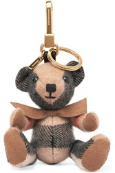 Burberry London London Checked Cashmere Keychain Beige