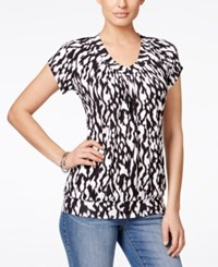Jm Collection Printed Short Sleeve Blouse Only At Macy's Cheetah
