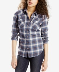 Levi's Plaid Flannel Shirt Estate Blue Plaid