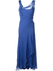 Alberta Ferretti Draped Ruffle Dress Blue