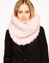 Asos Chunky Snood In Hand Knit Funnel Detail Lightpink
