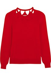 Altuzarra Woodward Cutout Merino Wool Sweater Red
