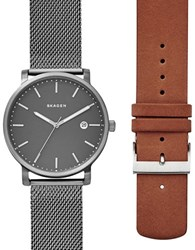 Skagen Hagen Gunmetal Tone Stainless Steel Mesh Bracelet Watch And Brown Leather Strap Box Set