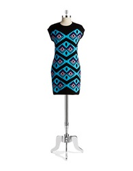 Love Moschino Tribal Sweater Dress Blue Multi