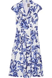 Lela Rose Jane Floral Print Cotton Poplin Dress Blue