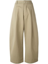 Studio Nicholson Pleated Wide Leg Cropped Trousers Nude And Neutrals