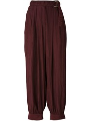 Lanvin Drop Crotch Wide Trousers Pink And Purple