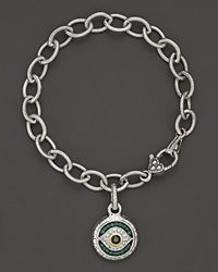 Judith Ripka Sterling Silver Evil Eye Charm Bracelet With Black And White Sapphires And Green Quartz