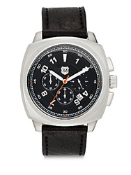 Andrew Marc New York Chronograph Square Stainless Steel And Leather Watch Black Silver