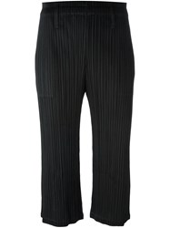 Issey Miyake Pleats Please By Light Flare Cropped Trousers Black