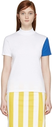 Jacquemus White And Electric Blue High Collar T Shirt