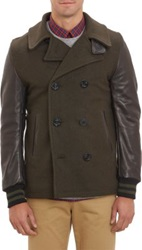 Golden Bear Leather Sleeve Double Breasted Peacoat Green