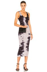Enza Costa Rib Tank Midi Dress In Ombre And Tie Dye Purple Ombre And Tie Dye Purple
