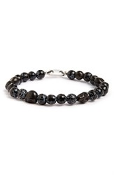 L. Jonas Men's Skull Crackle Bead Bracelet