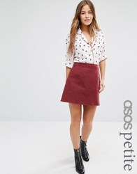 Asos Petite Denim A Line Skirt In Oxblood Oxblood Red