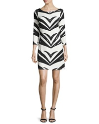 Julie Brown Goldie Chevron Shift Dress Black Simb