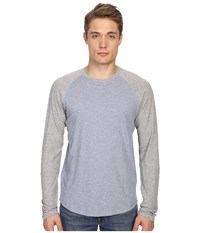 Vince Long Sleeve Baseball Heather Denim Heather Steel Men's T Shirt Blue