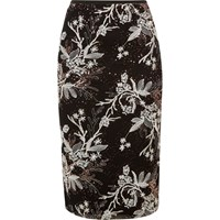 River Island Womens Black Embroidered Sequin Pencil Skirt