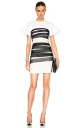 David Koma Flounce Sleeve Tulle Bandage Dress In White Black Stripes