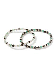 Topman Gold And Green Beaded Stretch Bracelet Pack Multi