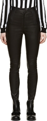 Givenchy Black Leather Ribbed Jeans