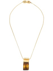 Givenchy Vintage Amber Effect Pendant Necklace Metallic