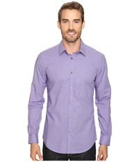 Calvin Klein Long Sleeve Yarn Dye Micro Check Sultan Purple Men's Long Sleeve Button Up