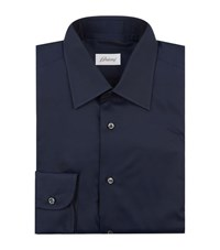 Brioni Regular Fit Poplin Shirt Male Navy