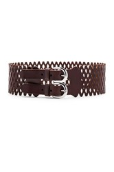 Linea Pelle Vintage Mesh Perforated Waist Belt Brown