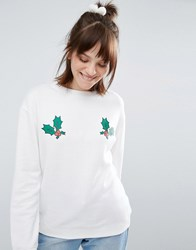 Daisy Street Christmas Holly Sweater Cream