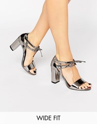 Dune Wide Fit Moroco Pewter Block Heeled Sandals Pewter Synthetic Silver