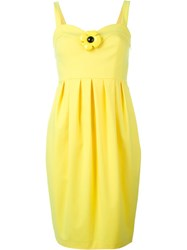 Boutique Moschino Flower Applique Pleated Dress Yellow And Orange