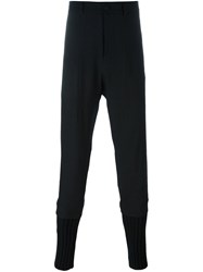 Isabel Benenato Ribbed Cuffs Tapered Trousers Black