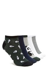 Forever 21 Panda Ankle Socks 5 Pack Green Multi