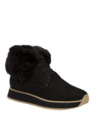 Aquatalia By Marvin K Jaboba Faux Fur Trimmed Leather Ankle Boots Dark Brown