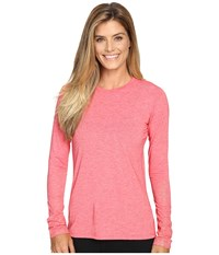 Brooks Distance Long Sleeve Top Heather Poppy Sol Shine Women's Long Sleeve Pullover Pink
