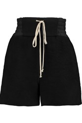 Rick Owens Smocked Cotton Poplin And Cashmere Shorts Black