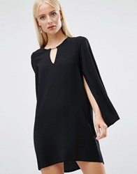 Forever Unique Asha Shift Dress With Fluted Sleeves Black